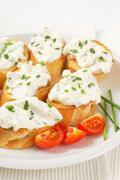 Cheese toast canapes Stock Photos