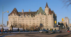 Cars moving around the Chateau Laurier Dowtown Ottawa Stock Footage