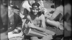 Man Plays Drum Hippie Beats Bongo Love In 1960s Vintage Film Home Movie 9760 - stock footage