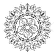 intricate mandala icon - stock illustration
