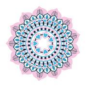 colorful intricate mandala icon - stock illustration