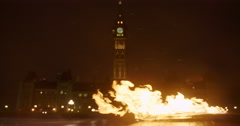 Centennial Flame at Night in Winter Stock Footage