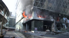 Central Department Store Burns Bomb Attack Terrorist Blast Building 9715 - stock footage