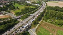 German highway A5 at Bad Homburger Kreuz, aerial view Stock Footage