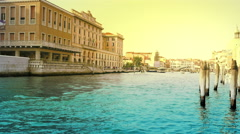 Grand canal of Venice at sunset time Stock Footage