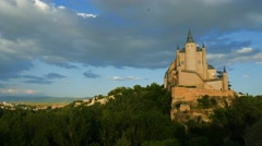 Segovia Castle (Alcazar of Segovia) time lapse video. Castile and Leon, Spain Stock Footage