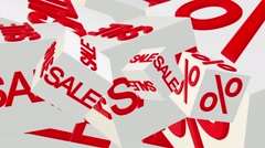 Rotating cubes with inscription sale and percents in red color - stock footage