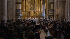 Buenos Aires Cathedral, Priest addresses to the crowd Stock Footage