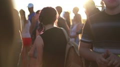 People cheering at open-air rock festival Stock Footage