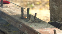 Workers grinding and welding on building location. Stock Footage