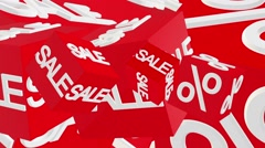 Rotating cubes with inscription sale and percents in white color - stock footage