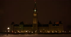 Parliment Buidling on a Winter Night Stock Footage