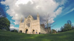 Panning timelapse of passing the historic St Albans Cathedral Stock Footage