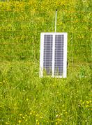 Electric Pastue Fence charged with Photovoltaic - stock photo
