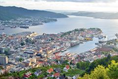 Bergen view from the top of Floyen mountain. Stock Photos