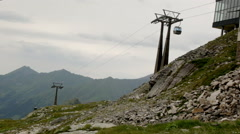 Funicular in mountain of Alps - stock footage