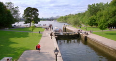 Rideau Locks on a Busy Summers Day Stock Footage
