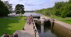 Rideau Locks Opening Up for a Boat Preparing to Go Through Stock Footage