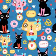 Seamless pattern with funny cats Stock Illustration