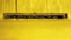 Bee guards guard the entrance to the hive by night. Yelow beehive close-up Stock Footage