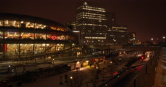 Downtown Ottawa Convention Centre On A Winter's Night Stock Footage