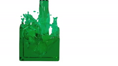 green liquid fills up a rectangular container. clear liquid - stock footage