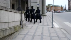 Guards walking in the streets of Stockholm, Sweden Stock Footage
