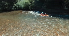 Canoeing on the Grande Nive river Stock Footage