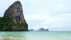 Beautiful landscape with andaman sea and amazing rock of Krabi, Thailand Stock Footage