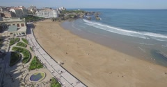 Biarritz Grande plage from the sky, France Stock Footage