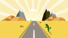 Ride through a cartoon desert seamless loop. Animated road on a sunset Stock Footage