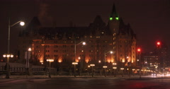 The Chateau Laurier on a Snowy Night Stock Footage