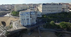 Aerial view of Biarritz Port-Vieux, fishing port Stock Footage