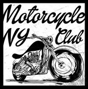 Vintage Motorcycle hand drawn vector tee graphic design - stock illustration