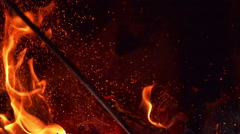 Fire Logs Burning Fireplace Stock Footage