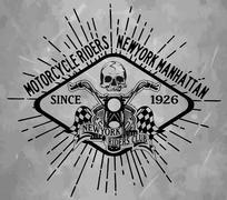 Skull Tee Graphic Design motorcycle club - stock illustration