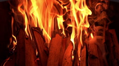 Fire Logs Burning Fireplace - stock footage