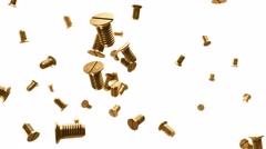 Gold metallic screws flow 3d animation Stock Footage
