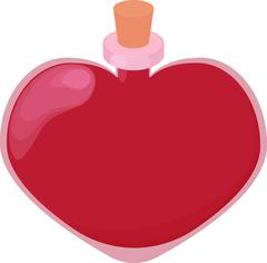 Pink glossy heart shape bottle of love potion - stock illustration