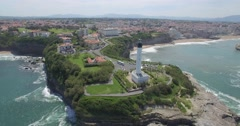 Aerial view of Biarritz lighthouse, France Stock Footage
