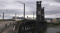 Trains over bridge in Portland Stock Footage
