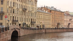 River embankment street with Consulate-General of Japan in Saint Petersburg Stock Footage