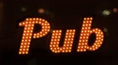 Illuminated pub signboard Stock Footage