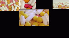 Many different spinning drugs, collage. Multiscreen Stock Footage