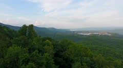 Evening Aerial of Lakes In Upstate South Carolina Blue Ridge Mountains Stock Footage