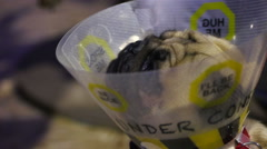 Pug wearing pet cone waiting for examination and treatment at veterinary clinic Stock Footage