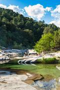 Cavu natural pool near Tagliu Rossu and Sainte Lucie in Corsica Island, Franc - stock photo