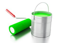 3d Full paint bucket and paint roller. - stock illustration