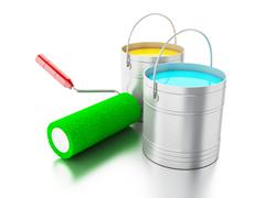 3d Full paint buckets and paint roller. Stock Illustration