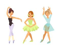 Ballerina dancer vector girl - stock illustration